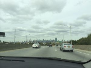 On the way to Manhattan, the city in the background